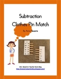 Subtraction Clothes Pin Match