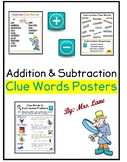 Addition and Subtraction Clue Words Posters