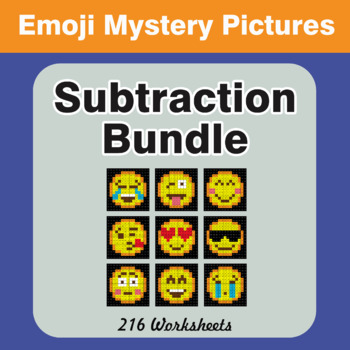 Subtraction Color-By-Number EMOJI Mystery Pictures Bundle