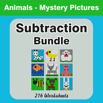 Subtraction - Color-By-Number Mystery Pictures Bundle