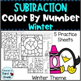 Subtraction Color By Number - Winter