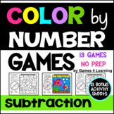 Subtraction Color by Number Games: Subtraction Games