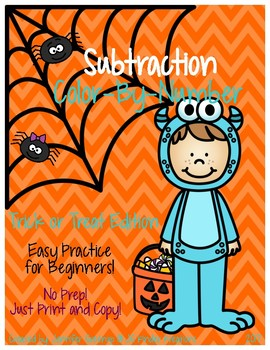 Subtraction Color by Number Halloween