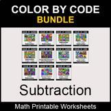 Subtraction - Color by Number - Math Coloring Worksheets - BUNDLE