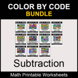 Subtraction - Color by Number - Math Coloring Worksheets - BUNDLE