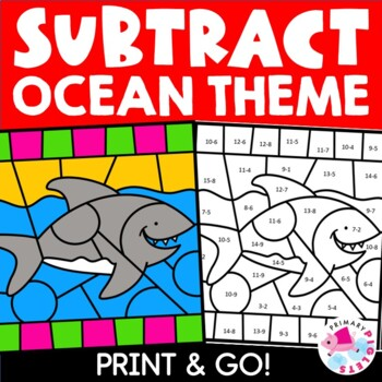 Subtraction Color by Number Ocean theme Math Mystery Pictures Bundle