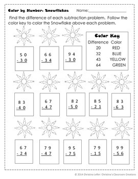 Snowflake Double-Digit Subtraction: Color by Number