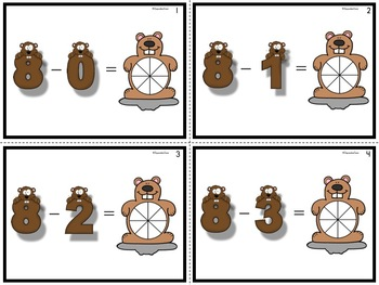 Subtraction Color the Answer Task Cards Groundhog Theme