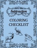 Subtraction Coloring Checklist
