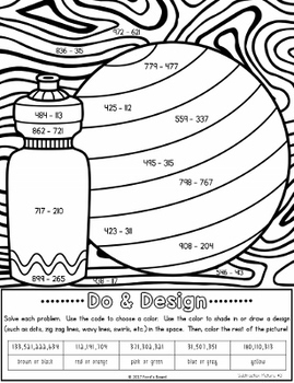 Subtraction Coloring Pages - Do and Design