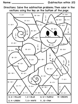 Subtraction Coloring Worksheet