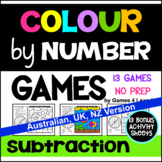 Subtraction Colour by Number Games [Australian UK NZ Canadian Version]