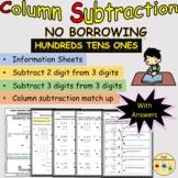 Subtraction Column Vertical Equations 3 Digits No Borrowin