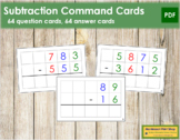 Subtraction Command Cards - color coded