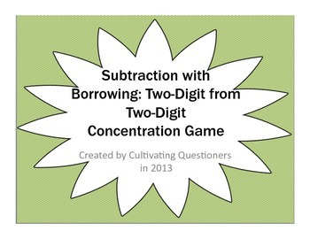 Subtraction Concentration: Two-Digit from Two-Digit with Borrowing/Regrouping