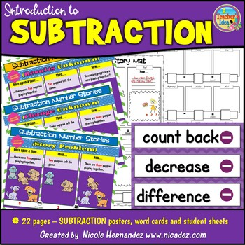 Subtraction (Take Away) Concept Posters and More!
