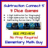Subtraction Connect 5 3 Game Set w/ Regrouping (2 digit, 3 digit, Across Zeros)