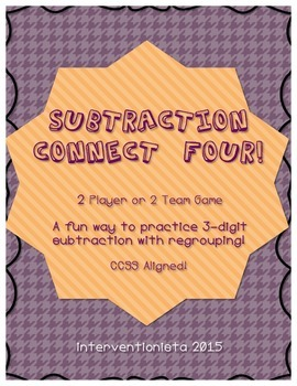 Subtraction Connect Four - Three Digit Subtracting with Remainders