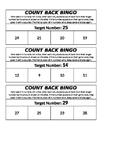 Subtraction Counting Back Bingo
