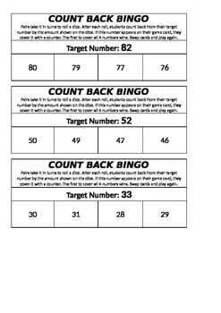 Subtraction Counting Back Bingo
