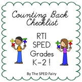 Subtraction - Counting Back - Checklist