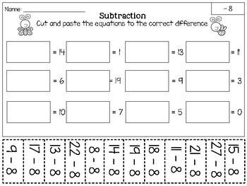 Subtraction Cut and Paste {0-12 + Digital}
