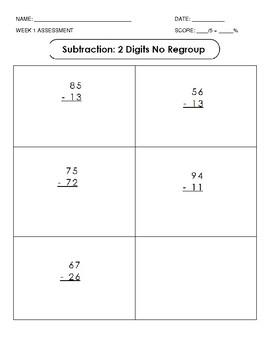 Subtraction: Data Collection Sheet and Assessments