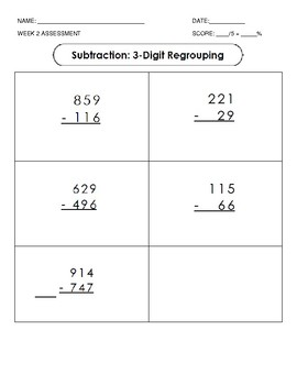 Subtraction: Data Collection Sheets and Assessments