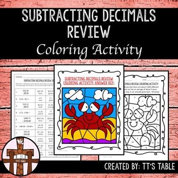 Subtracting Decimals Review Coloring Activity