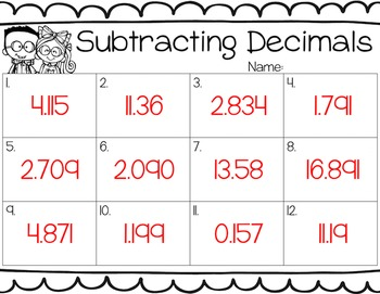 Subtracting Decimals Task Cards for Centers, Review, Scoot, & Test Prep