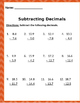 Math: Subtraction Decimals - 4 page of 12 problems per page.