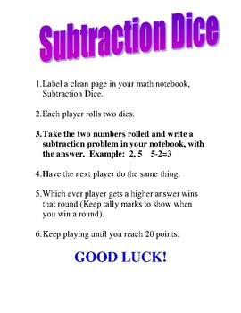 Subtraction Dice Directions for First Grade Math Centers Game