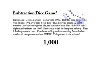 Subtraction Dice Game