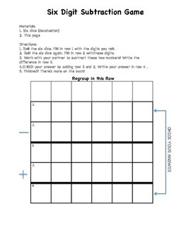 Subtraction Dice Game/Center