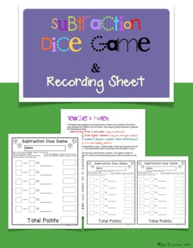 Subtraction Dice Game and Recording Sheet FREEBIE