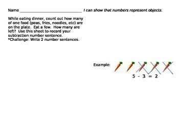 Subtraction Dinner Worksheet