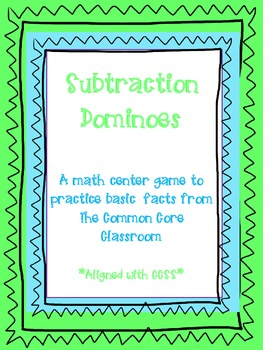 Subtraction Dominoes - Basic Subtraction Facts - 1st & 2nd Grade - CCSS aligned