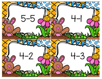 Subtraction Dry Erase Cards