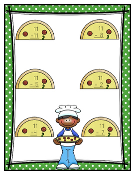 Subtraction Eleven Facts: Pizza Pal Problems File Folder Game
