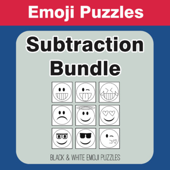 Subtraction - Emoji Picture Puzzles Bundle
