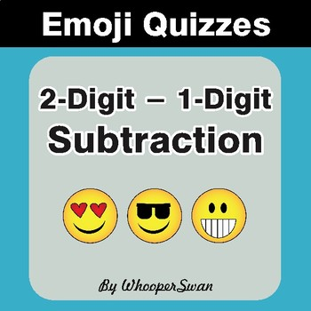 Subtraction Emoji Quiz (2-Digit minus 1-Digit)