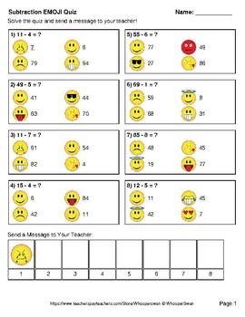 Subtraction Emoji Quiz (2-Digit minus 1-Digit)