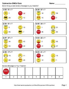 Subtraction Emoji Quiz (2-Digit minus 2-Digit)