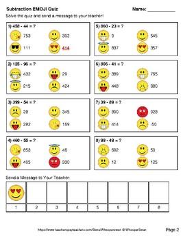 Subtraction Emoji Quiz (3-Digit minus 2-Digit)