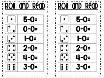 Subtraction Equations to 5-Roll and Read