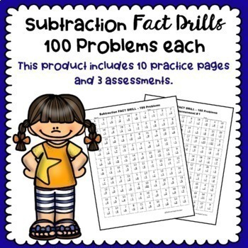 Subtraction Fact Drills - 100 Problems Each