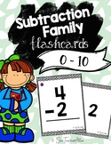 Subtraction Fact Flashcards 0 to 10