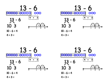 Subtraction Fact Flashcards using Modeling and Strategies - FULL SET!