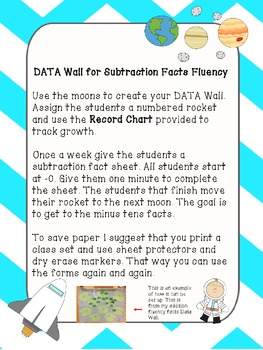 Subtraction Fact Fluency Data Wall