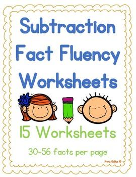 Subtraction Fact Fluency Worksheet Set